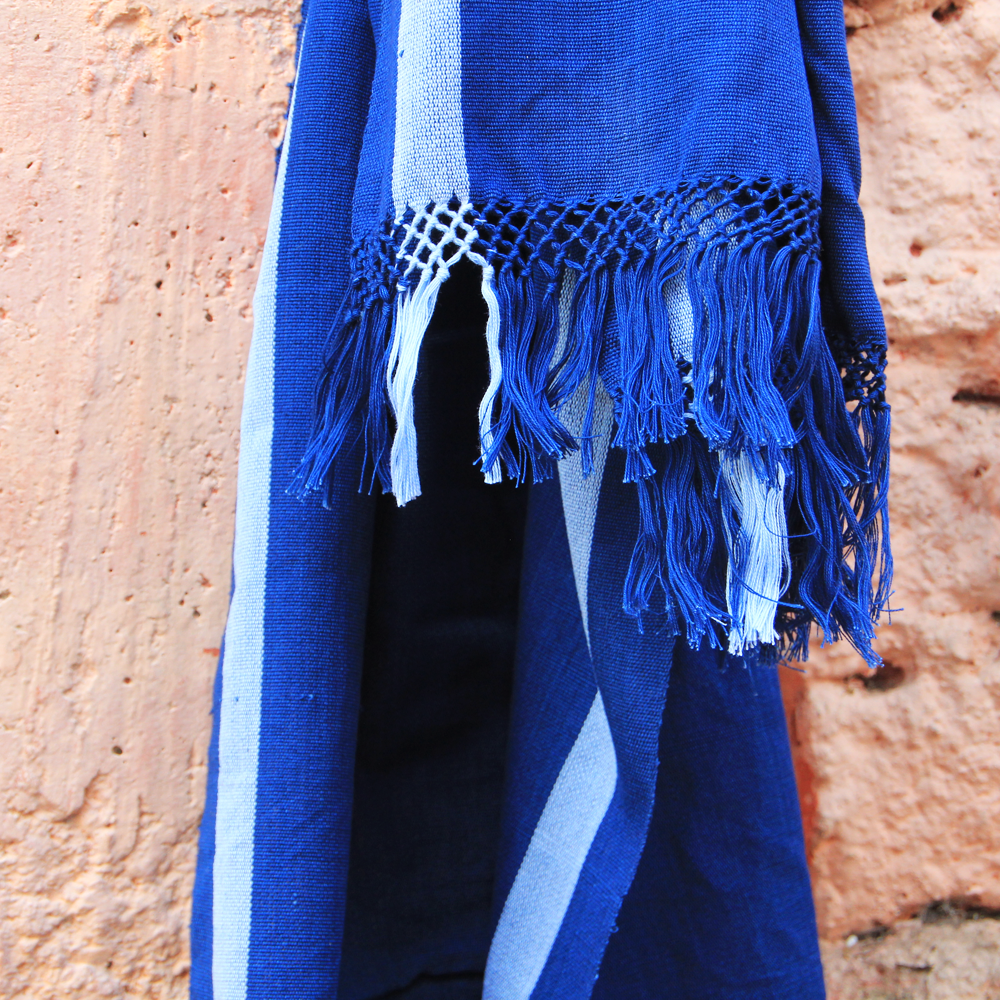 Indigo Footloom Scarf