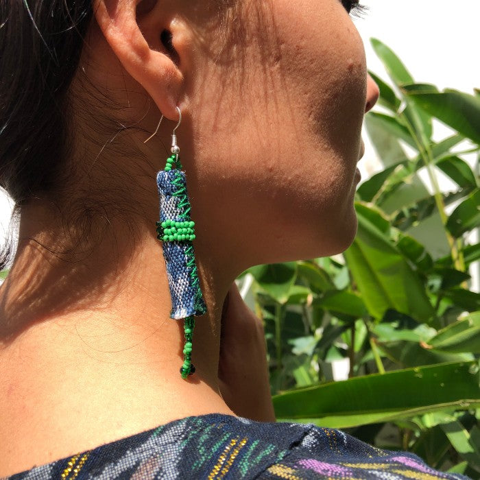 Long earrings 2: blue with green