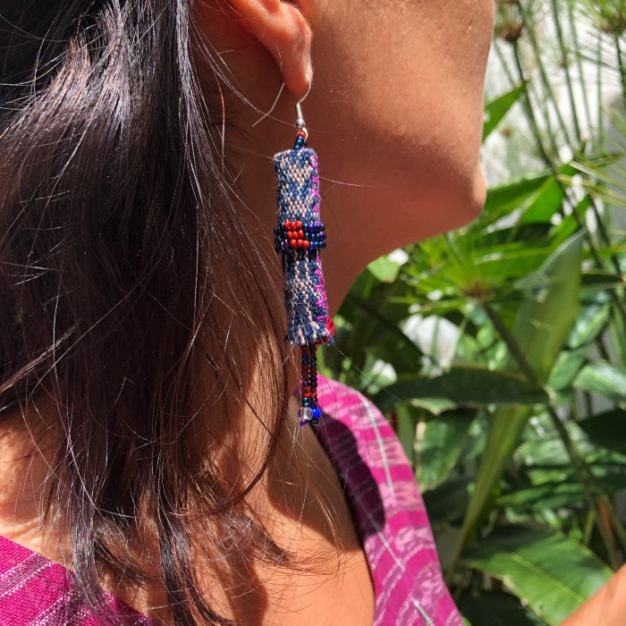 Long earrings 3: blue with red