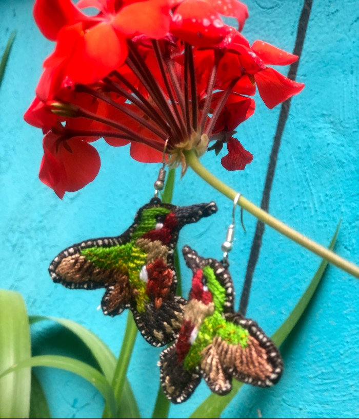 Hummingbird Earrings: Green