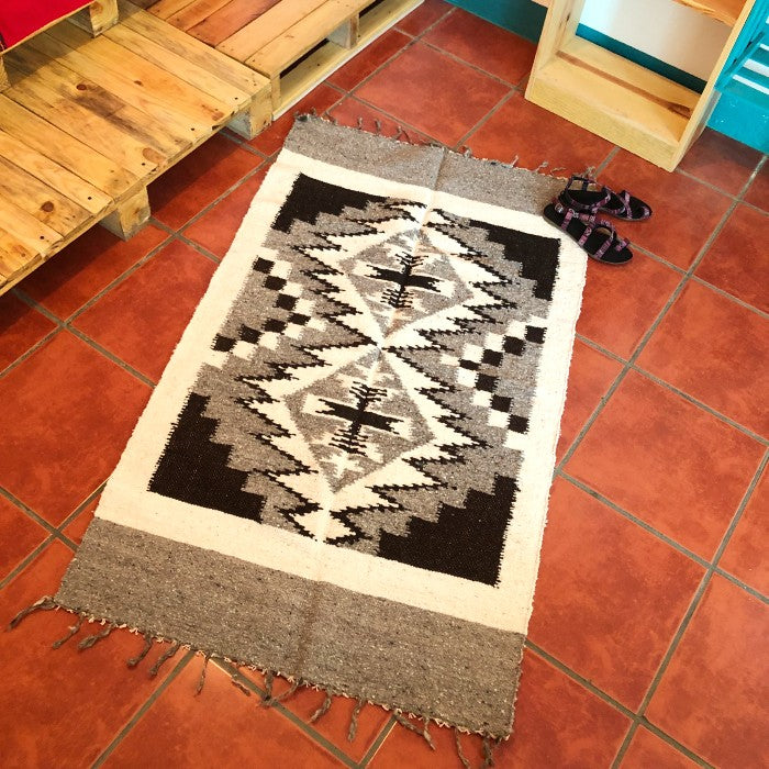 Medium Wool Rug: Geometric Shapes in Natural Colors