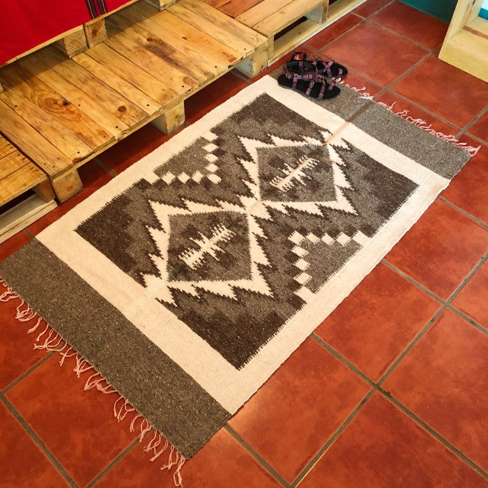 Medium Wool Rug: Geometric Shapes in Natural Greys
