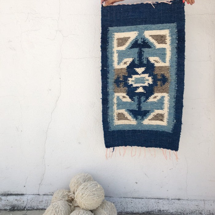 Small Wool Rug: Arrows in Blue