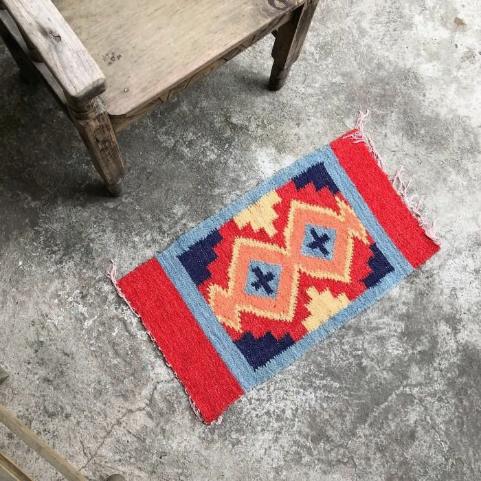 Small Wool Rug in Geometric Shapes 3