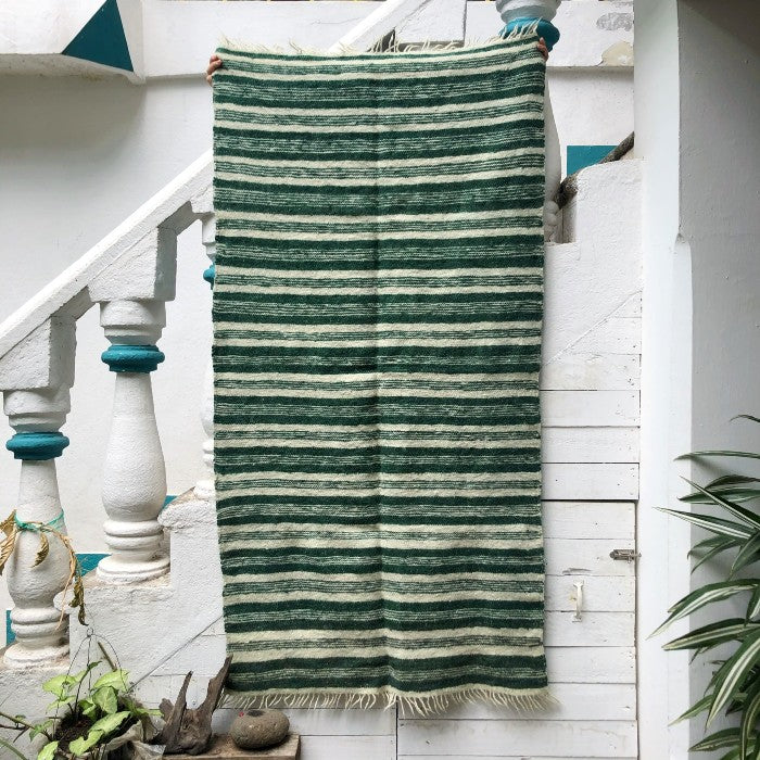 Medium Wool Rug in Green & White Stripes