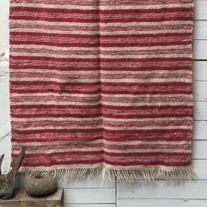 Medium Wool Rug in Pink & White Stripes