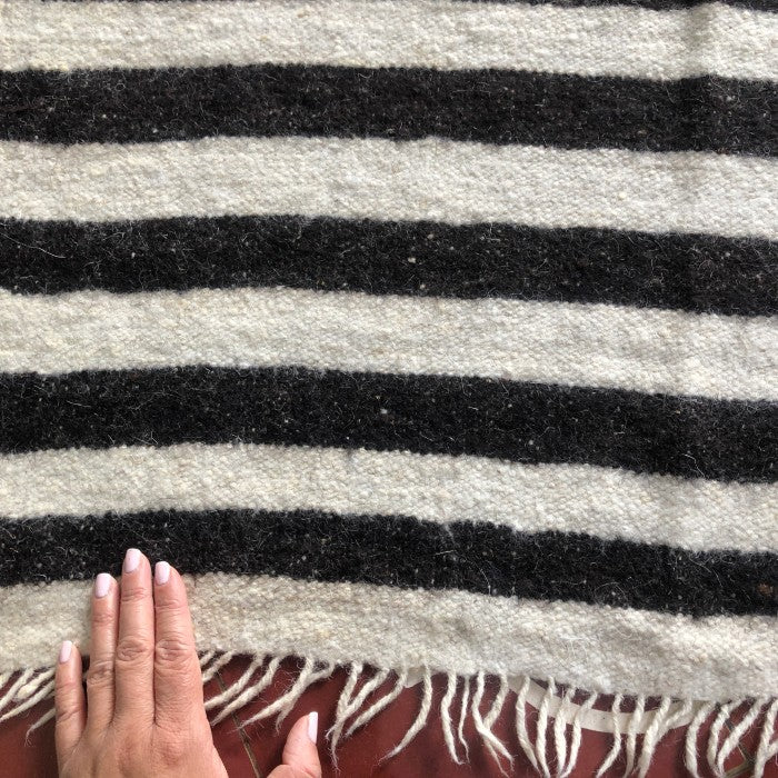 Medium Wool Rug in Brown & White Stripes