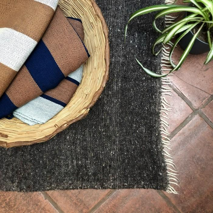 Medium Wool Rug: Geometric Shapes in White and Brown