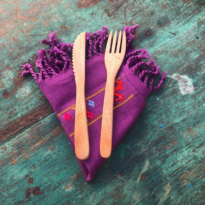 Napkins 2: set of six in deep lilac