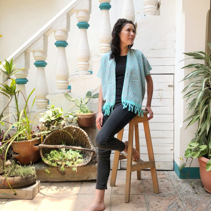 Summer Cardigan Grey + Emerald