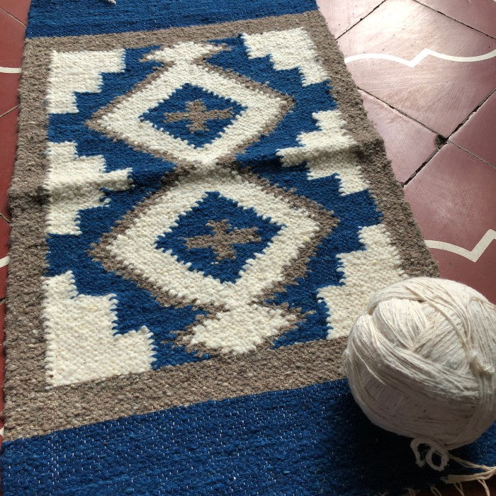 Small Wool Rug in Geometric Shapes 1