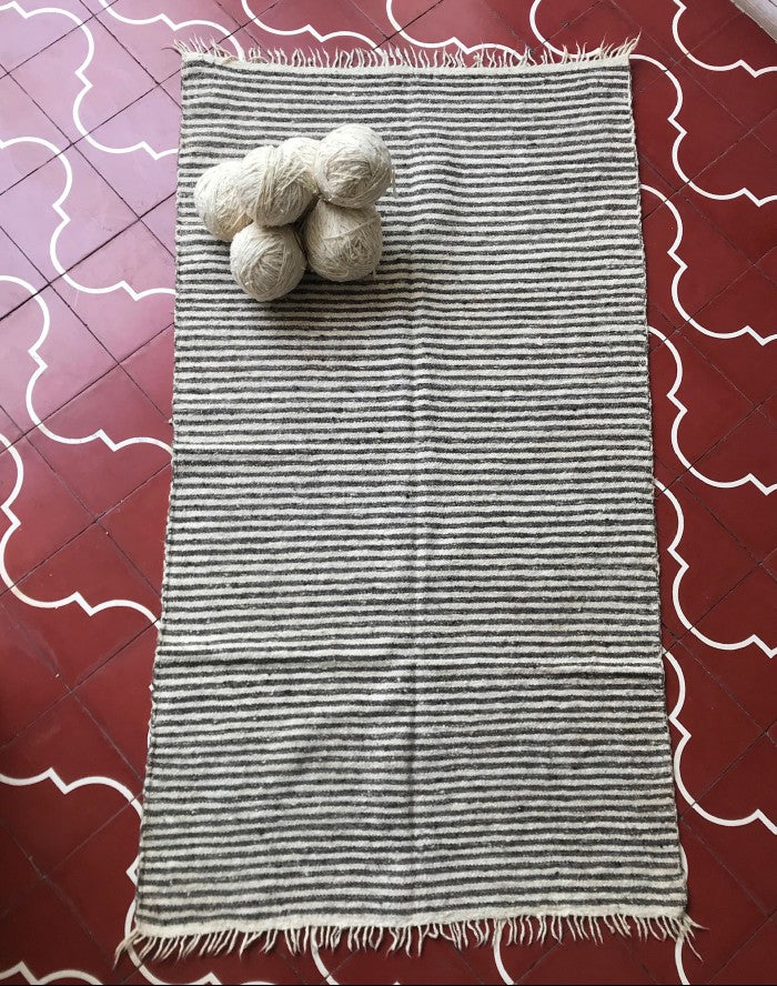 Medium Wool Rug in Natural Brown and White Stripes