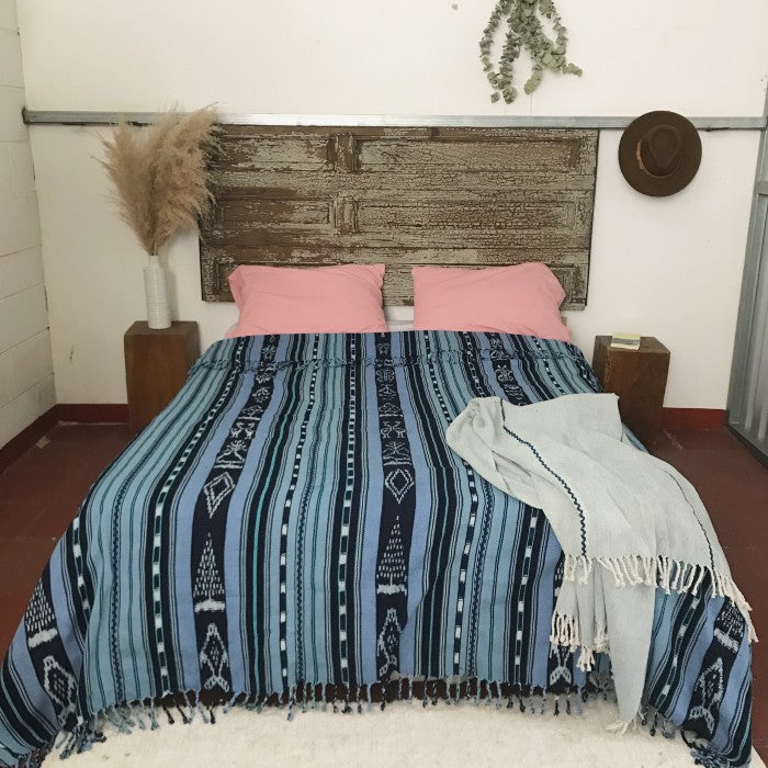 Cotton ikat bedspread in blue