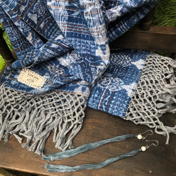 Naturally-dyed Scarf + Earrings Combo: Campeche + Indigo