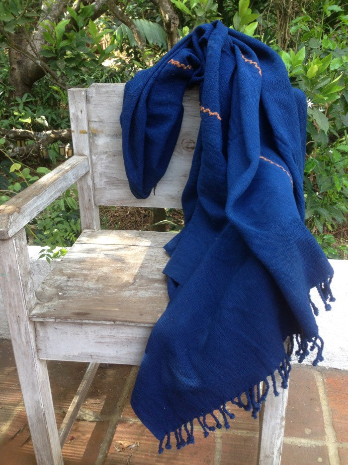 Handspun Organic Cotton Throw in Indigo