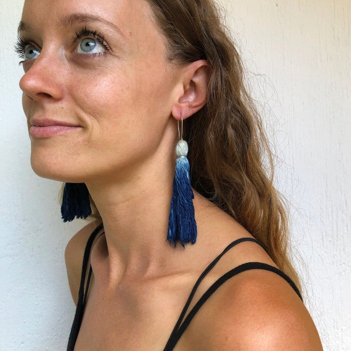 Indigo-Dipped Handspun Cotton Earrings