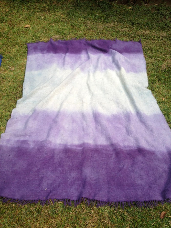 Large Wool Rug or Bedspread in Jacaranda / Indigo