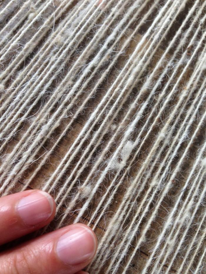 Small Wool Rug: Stripes and Waves in Ochre