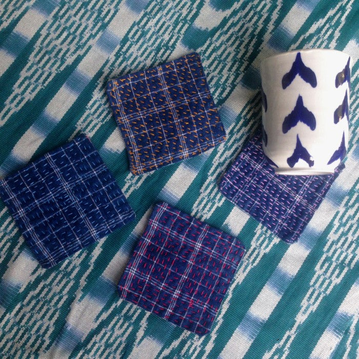 Sashiko Coasters- set of 4