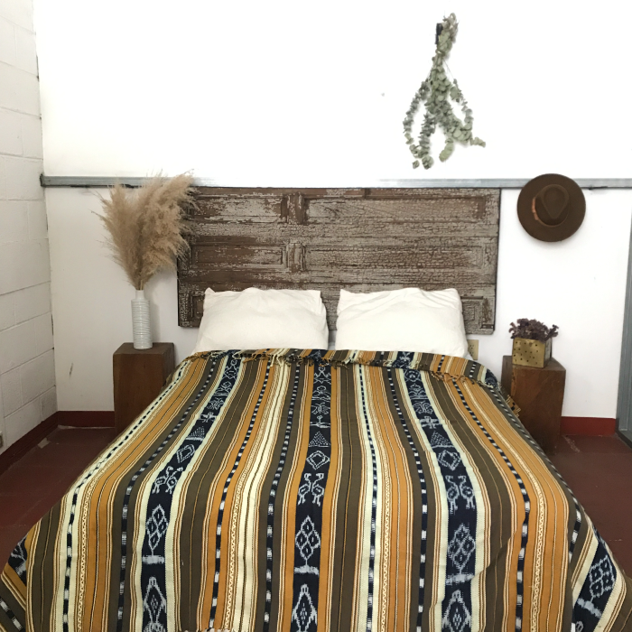 Cotton ikat bedspread in Aqua
