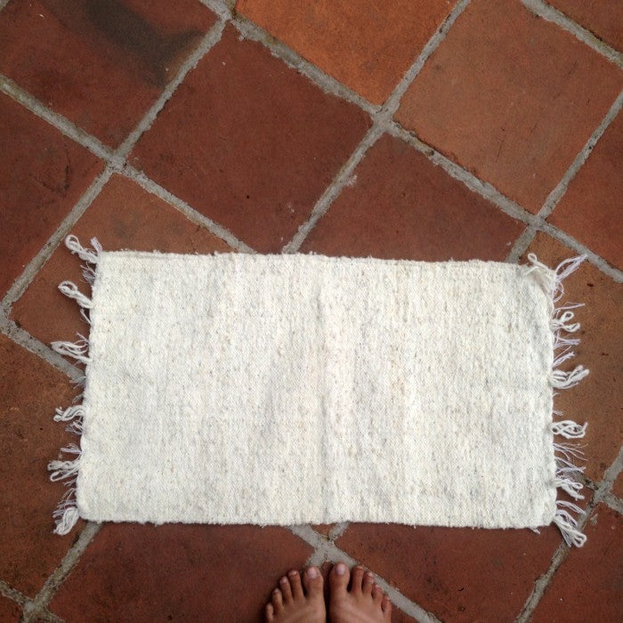 Small Wool Rug in Natural White