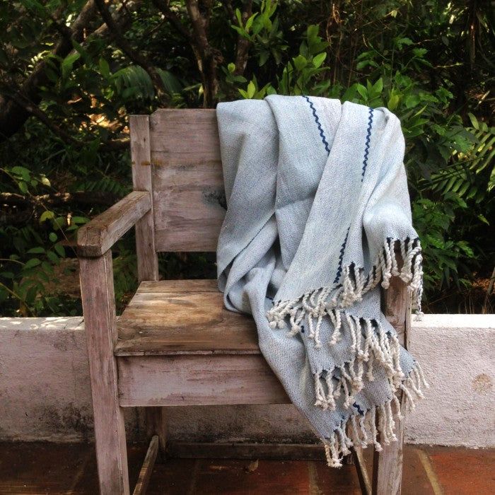 Handspun Organic Cotton Throw in Natural White
