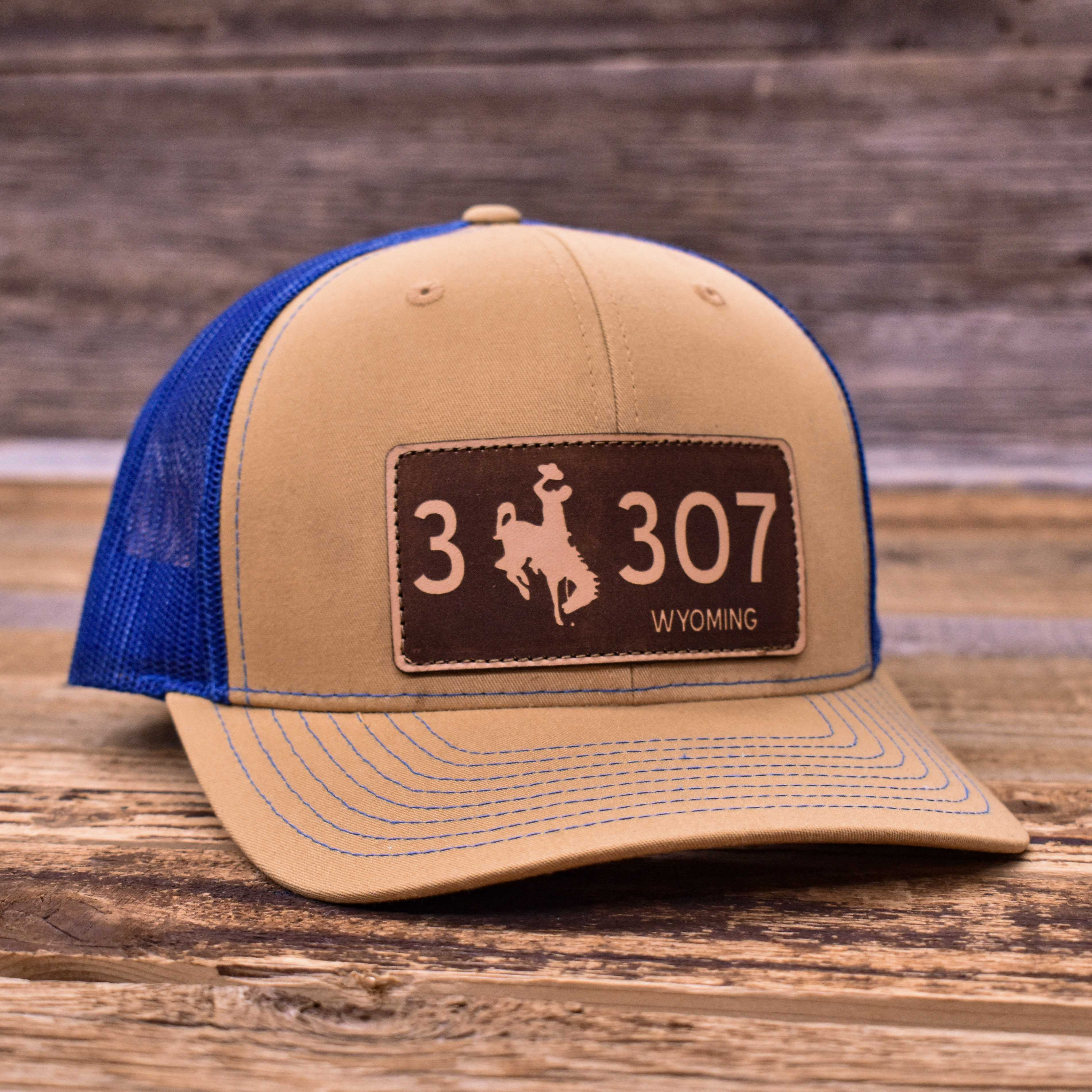 Laser Wyoming License Plate Premium Trucker Hats