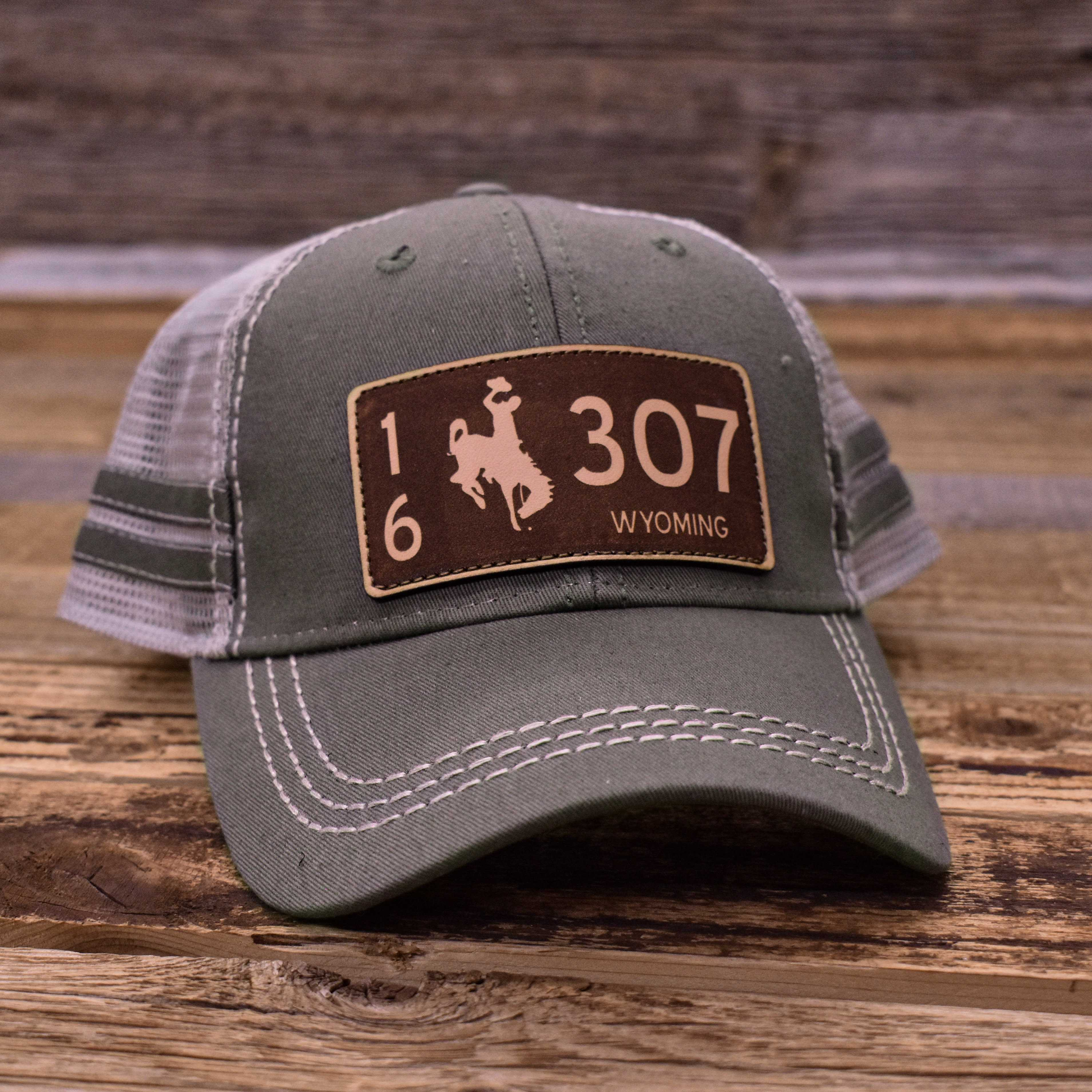 Laser Wyoming License Plate Sportsman Hats