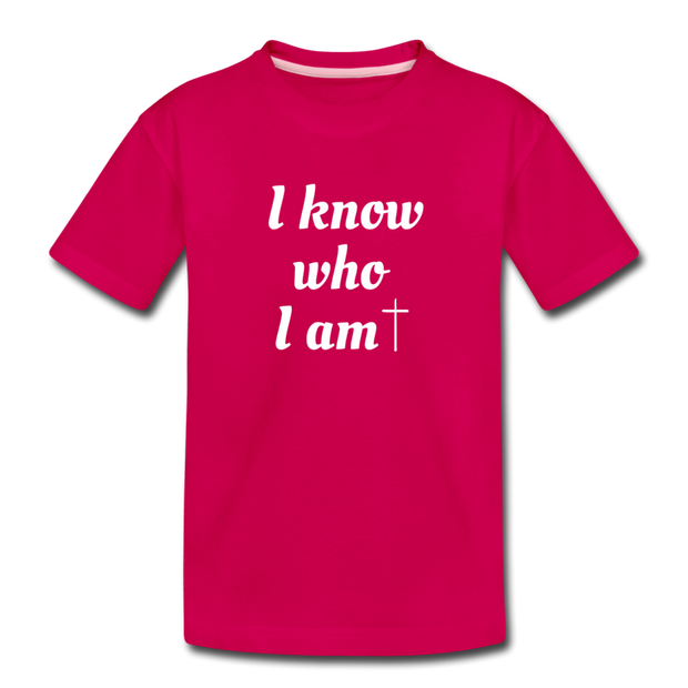 I know Who I Am Tee - dark pink
