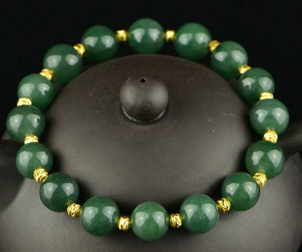 "JADE 'Imperial Jadeite' Gold Energy Bracelet (10mm) ""Guards against Illness"""