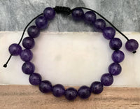 "AMETHYST Energy Bracelet, Adjustable Silk Cord (8mm) ""STRESS RELIEVER"" Protects from Disease & Infection"