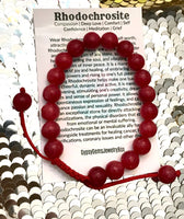 "RHODOCHROSITE 'Argentine' Energy Bracelet, Adjustable Silk Cord (8mm) ""Red Rose"""