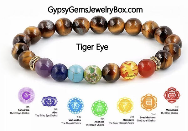 "7 CHAKRA 'TIGER EYE' Energy Bracelet ""STRENGTH"""