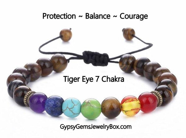 "7 CHAKRA 'TIGER EYE' Energy Bracelet  ""PERSONAL POWER"""
