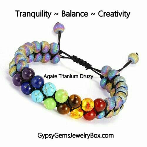 7 Chakra Agate Druzy Colorful Double Row Energy Bracelet