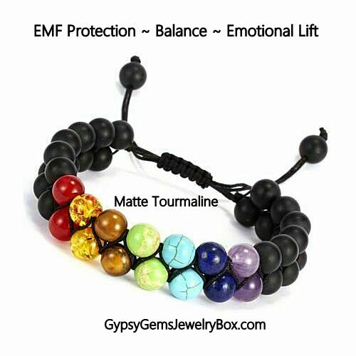 7 Chakra Tourmaline Double Row Energy Bracelet-EMF PROTECTION
