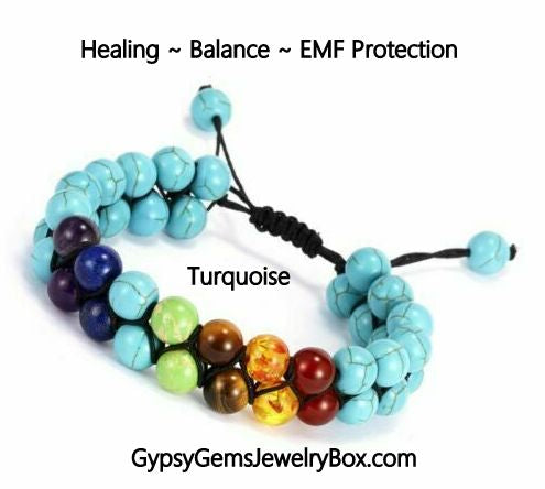 7 Chakra Turquoise Double Row Energy Bracelet-EMF Protection