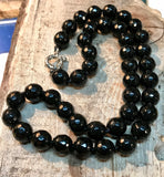 Onyx Faceted Bead Necklace (10mm)