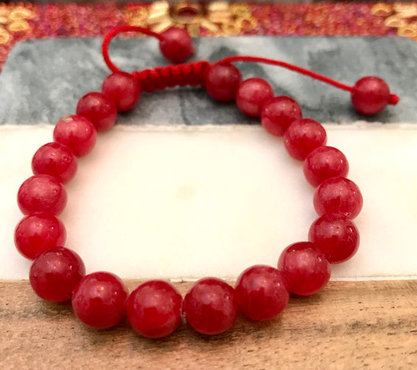 "RHODOCHROSITE 'Argentine' Energy Bracelet, Adjustable ""Red Rose"""