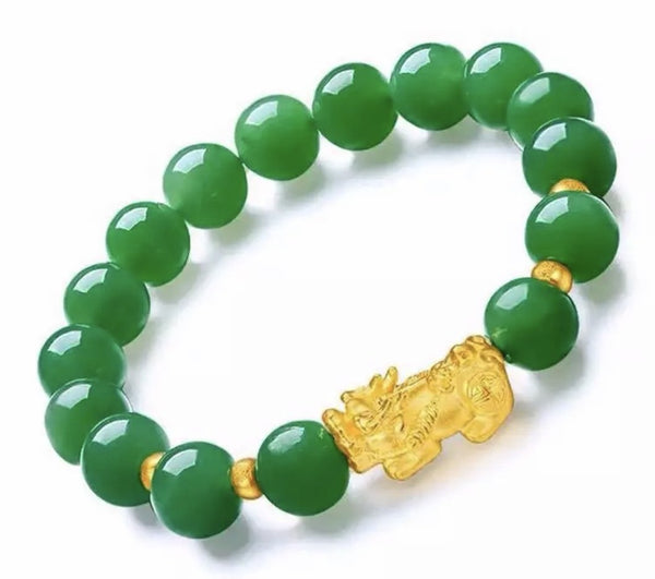"FENG SHUI JADE Dragon Mantra Energy Bracelet (8mm) ""SUCCESS"""