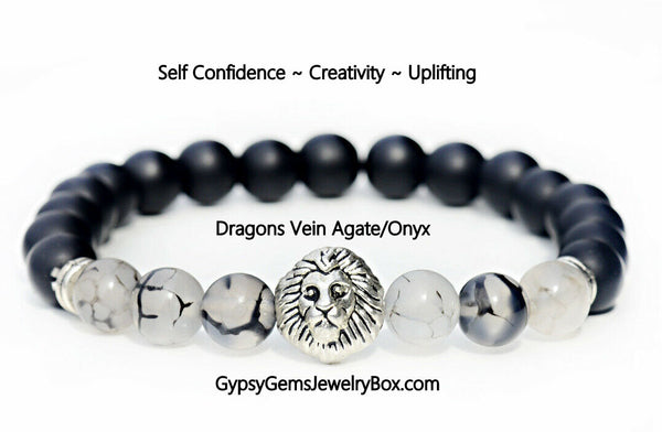 AGATE 'Dragons Vein' & 'Black Onyx' Energy Bracelet