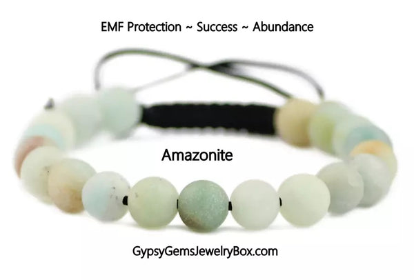 "AMAZONITE Energy Bracelet, Adjustable ""EMF Protection"""