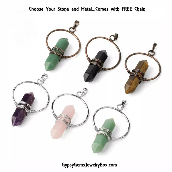 Circle of Life Gemstone Pendulum Reiki Pendant