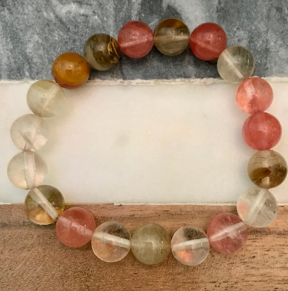 "QUARTZ 'Volcano Cherry Quartz' Energy Bracelet (12mm) ""Enchantment"""