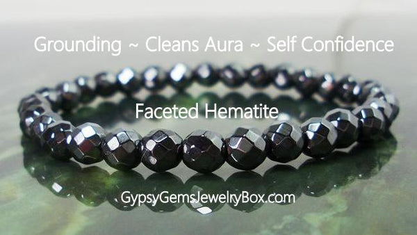 HEMATITE Black Faceted Energy Bracelet