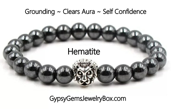 HEMATITE Black 'LION' Energy Bracelet