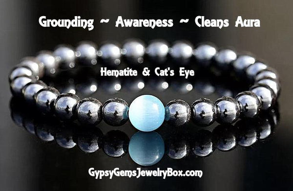 HEMATITE & CAT'S EYE Focus Bead Energy Bracelet