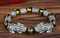 "FENG SHUI BLACK OBSIDIAN Dragon Mantra Energy Bracelet (12mm) ""Qi Energy"""