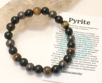 "Triple Protection - Tiger Eye - Onyx - Pyrite Energy Bracelet 8mm (EMF Protection) ""Magnetize"""