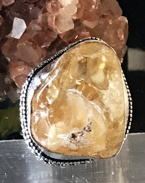 Citrine Natural Gemstone .925 Sterling Silver Ring (Size 9.5)